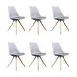 Scandi Style Dining Side Chair, Pyramid Beech Wood Legs, Dove Grey, Set of 6
