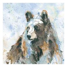 Black Bear On Blue by Carol Robinson Canvas Print