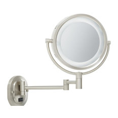 Jerdon HL65BZD Hard-Wired 8-Inch Two-Sided Swivel Halo Lighted Wall Mount Mirror