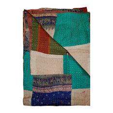 "100% Silk Kantha Throw, Multi, 50""x70"""