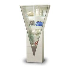 6625-CUR Triangular Curio Cabinet With Mirrored Interior