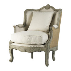 Adele Love Chair, Off-White Cotton,  Burlap Back