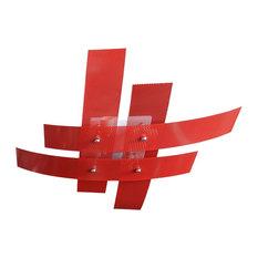 Hashtag Flush Ceiling Light, Red