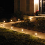 LumaBase - Electric Pathway Lights, Clear - Electric pathway will create festive lighting for your special event. They are weather resistant, so they can be enjoyed for many seasons. Simply stretch the 30-ft lights cord and position each of the light bulbs through the hole in the stake. The anchor stakes will secure the light into the ground. Included: 1 UL Listed 30' Electric Cord, 10 C7-5 Watt Bulbs, 10 Anchor Stakes