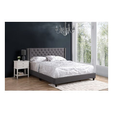 Miranda Upholstered Twill Bed, Light Gray, King