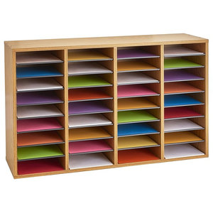 Storage Organiser in Oak Wood with 16 Compartments, Contemporary Design