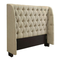 Luke Modern Queen Headboard Bed In Linen Toast Fabric W Button Tuft