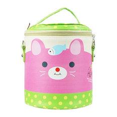 PU Leather Fashion Cute Cartoon Lunch Bags Pale Green kitty Pattern