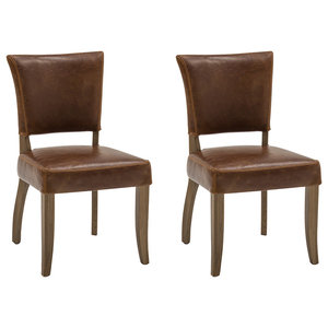 Duke Oak Dining Chair With Tan Faux Leather Seat
