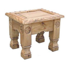 Million Dollar Rustic   End Table With Rope Trim And Star Details   Side  Tables And