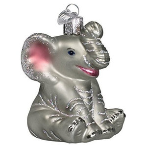 Old World Christmas Little Elephant Glass Blown Ornament