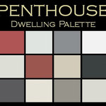 """Color in Space Penthouse Palette™--polished & bold - Each palette consists of twelve Benjamin Moore® paint colors in 4"""" swatches and no colors are repeated. The intentional selection of the twelve colors ensures that they are energetically balanced and will create the feeling of the dwelling for which it is named."""