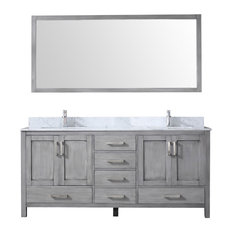 "72"" Double Vanity With Carrera Marble Top, Sink and 70"" Mirror, Distressed Gray"