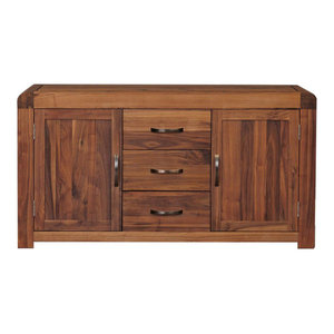 2 Cupboard and 3 Drawer Shiro Solid Walnut Sideboard