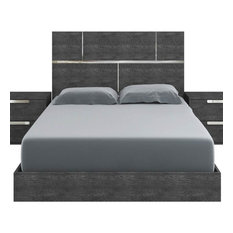 Chrome Trimmed Platform Bed in High Gloss Dark Gray (Queen - 82 in. L x 63 in. W
