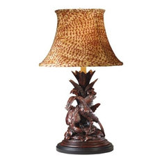 Sculpture Table Lamp Pheasant Birds Hand Painted OK Casting Feather