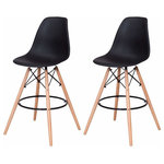 brawbuy - High Back Modern Dining Chairs , Armless Accent Leisure Chair, Set of 2, Black - This Simple Style Dining Side Chair serves the purpose of providing seating comfort with a beautiful design. It has strong solid wooden legs. The ergonomically designed back andseat area perfectly fits your body curve. You will feel ultra comfort and relaxation sitting on it. This beautifully simple design dining chair can easily match with any décor in your home or cafe or any other places.