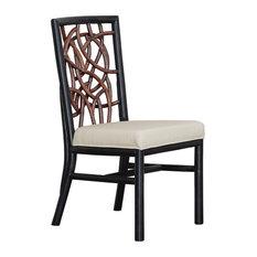 Panama Jack Trinidad Side Chair With Cushion, Sunbrella Cabana Regatta