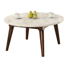 Wood Base Coffee Table With Marble Top Walnut Brown
