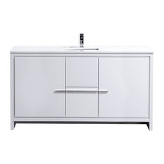 Dolce 60-inch High Gloss White Modern Bathroom Vanity With White Quartz Counter-Top