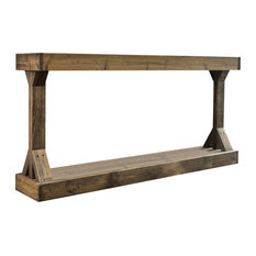 Barb Large Console Table Solid Wood by Del Hutson Designs, Dark Walnut