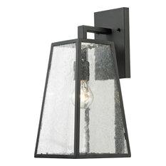 Meditterano 1-Light Large Outdoor Sconce, Textured Matte Black