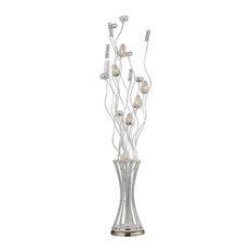 """55"""" Cyprus Gardens Floral Display Floor Lamp, Satin Nickel"""