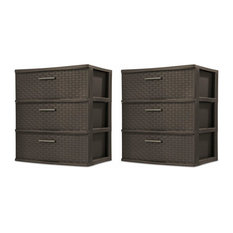 Dressers Towers, Set of 2, 3-Drawer, Driftwood Handles Espresso Finish