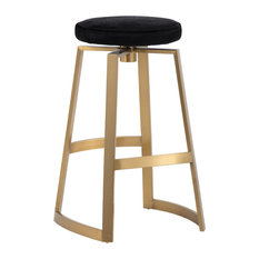 Sunpan 103207 Hendrix Swivel Barstool, Yellow Gold, Black Cowhide