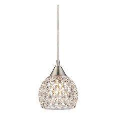 Elk Lighting 10341/1 Kersey 1-Light Mini Pendant, Satin Nickel