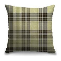 """""""Light Green Tartan Plaid"""" Pillow 16""""x16"""""""