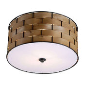 Shaker 3-Light Flush Mounts, Dark Woven Wood