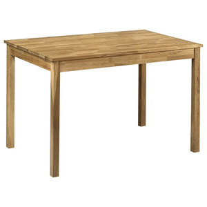 Rectangular Dining Table, Oak Finished Solid Wood, Traditional Design