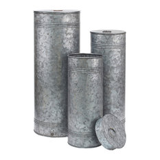 Aged Galvanized Metal Canisters, Set of 3