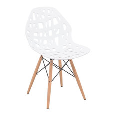 LeisureMod Akron Cut-Out Dinin Side Chair With Dowel Legs White
