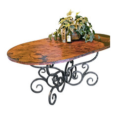 """Alexander Dining Table With 44""""x72"""" Soft Oval Copper Top"""