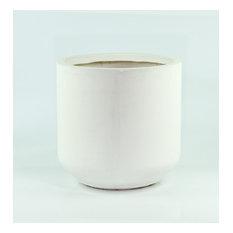 "Extra Large Cylinder Pot Fiber Clay Pot White 13"""