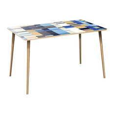 Brixton Flare Dining Table - Blue Stream