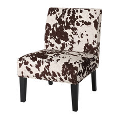 GDF Studio Kalee Contemporary Fabric Slipper Accent Chair Cow Print Matte Blac