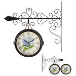 """Trademark Innovations - 7.5"""" Diameter Double Sided Vintage Wrought Iron Wall Hanging Clock - Add to your home's decor with this vintage double sided wall hanging clock.  The clock on the hanger measures 18""""L x 3.5""""W x 16""""H and the clock face is 7.5"""" in diameter.  The black iron hanger has a unique scroll design and is easy to hang.  The clock requires 2 AA batteries (not included).  By Trademark Innovations."""