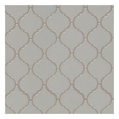 Gray Glossy Arabesque Mosaic Porcelain