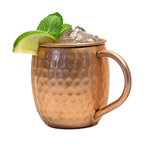 Modern Home Authentic 100% Solid Copper Hammered Moscow Mule Mug, Single