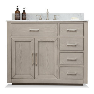 Grace Mid-century Bathroom Vanity w/Sink, Carrara Marble Top, Antique Gray, 42