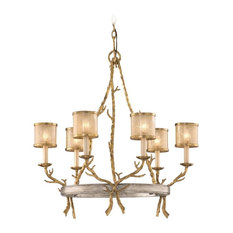 Six Light Gold And Silver Leaf Up Chandelier