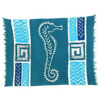 Hand-Painted Blue Seahorse Batiked Placemat