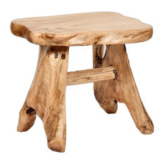 Natural Wood Indoor/Outdoor Stool Cedar Garden Bench