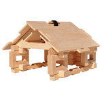 Timberworks Toys - Cottage and Bridge Set - Log construction sets have long been recognized as a traditional, classic toy for developing spatial skills. This award winning, natural wooden building toy is made in the USA. These interlocking log sets allow children to become more creative and build a log cabin or other structures including a bridge. Patented unique shapes, logs, platforms all make this possible including hardwood toy logs up to 12 inches in length. North American hardwood makes this the best construction toy available. 52 pieces of high quality timbers, widgets, and gable ends (triangles).