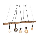 Country Pendant Lamp Black with Wood - Dami