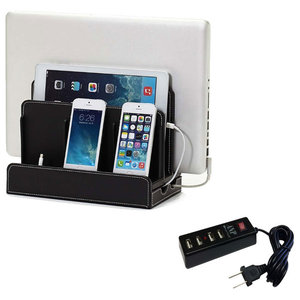 Faux Leather Multi-Device Charging Station, Black, With USB Power Strip
