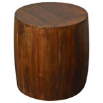 Favors Handicraft - Reclaimed Drum Barrel  18 inch Chestnut side table / end table / accent table - This exotic reclaimed solid wood 18-inch accent table will add an eye-catching style to your living room or den. It is a perfect piece for your home or café. Display a bouquet, stylish lamp, sculptural décor, or place it by your favorite chaise. Simply use as a stool and this primitive style reclaimed stool will bring you seating comfort while delivering high sturdiness. 100% Handcrafted from recycled wood and hand-finished with natural brown color. Each panel of salvaged wood showcases its life's story through a beautiful array of colors, natural grains, and markings